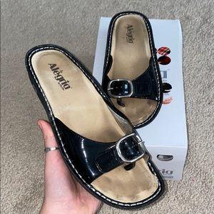 patent leather black sandals